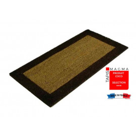 tapis coco avec des bords de couleurs et une semelle tissée